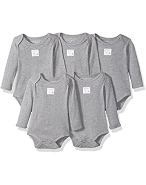 Set of 5 Essentials Solid Long Sleeve Bodysuits, 100% Organic Cotton