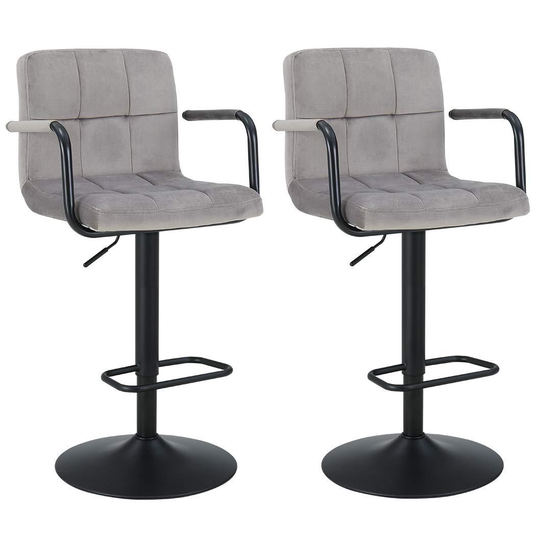 Duhome Elegant Lifestyle Barstools Height Adjustable Velvet Swivel Back Kitchen Counter Stools Bar Dining Chairs Set of 2, Gray