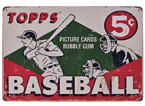 Flytime Topps Baseball Vintage Retro Metal Tin Sign Home Bar Kitchen Farmhouse Home Decor Signs Gifts 8X12Inch