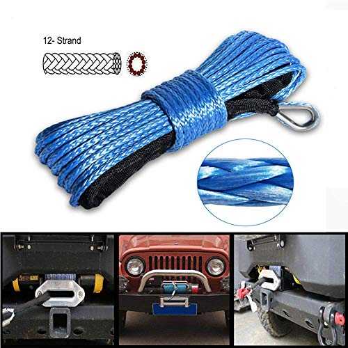 Winch Rope 1/4''x50' Synthetic Winch Cable Blue Winch Rope 7500+ LBs with Sheath for atvs Winches ATV UTV SUV Truck Boat Ramsey Nylon Winch Rope Extension ()