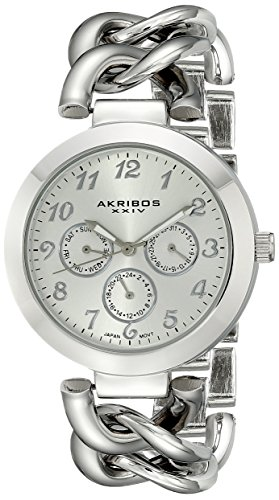 Akribos XXIV Women's AK644SS Ultimate Multi-Function Silver-Tone Twist Chain Link Bracelet Watch