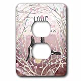 3dRose Uta Naumann Sayings and Typography - Dark Pink Spring Bird Couple Animal Illustration - Love Is In Air - Light Switch Covers - 2 plug outlet cover (lsp_275599_6)
