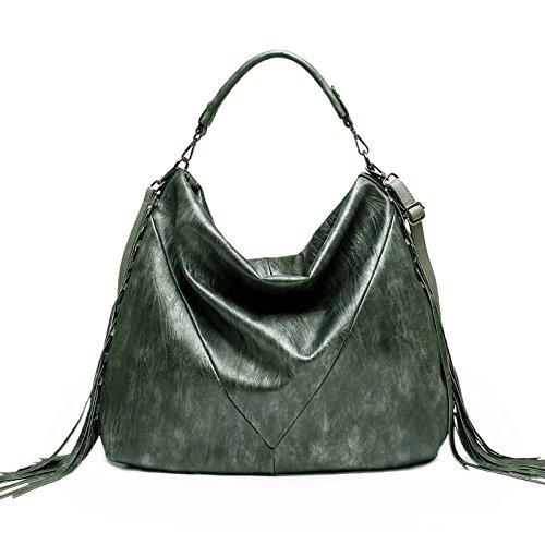 Zahara Oversized Hobo Bags Women Handbags Large Tote Purse Top Handle Bag Ladies Fashion PU Leather Shoulder Satchel with Tassel Green