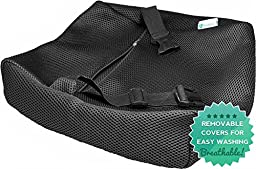 PharMeDoc Lumbar Pillow Support Cushion - Lower Back Sciatica & Tailbone Pain Relief - Orthopedic Contour Foam Wedge for Office Chair & Car Seat - Improved Posture - Cover w/ Adjustable Straps