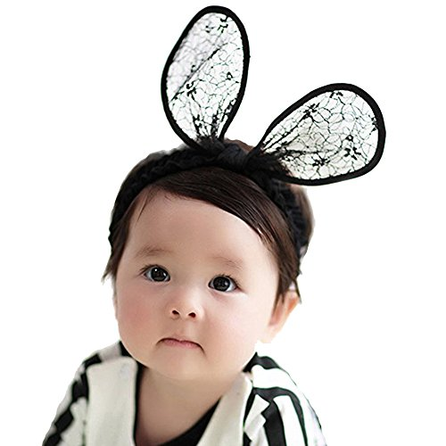 RQJ Baby Girls Rabbit Ear Lace Costumes Headband Bunny Elastic Minnie Mouse Ears Hair Bows for Gift(Black) ()