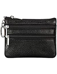 8aca75f3b7673b Women's Genuine Leather Coin Purse Mini Pouch Change Wallet with Key Ring