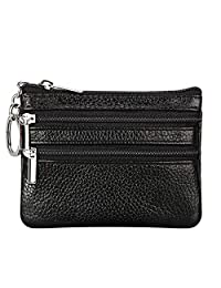 OOOK Women's Genuine Leather Coin Purse Pouch Change Wallet with Key Ring