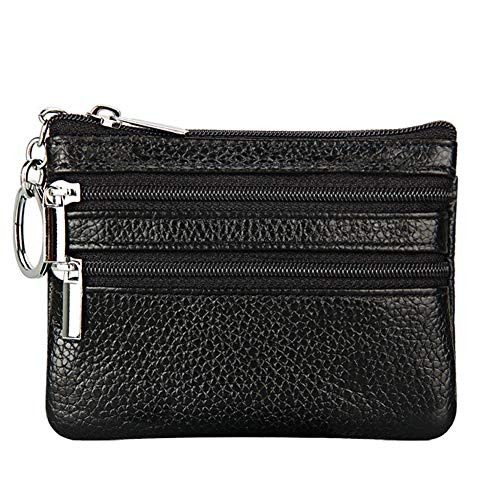 - Women's Genuine Leather Coin Purse Mini Pouch Change Wallet with Key Ring,black