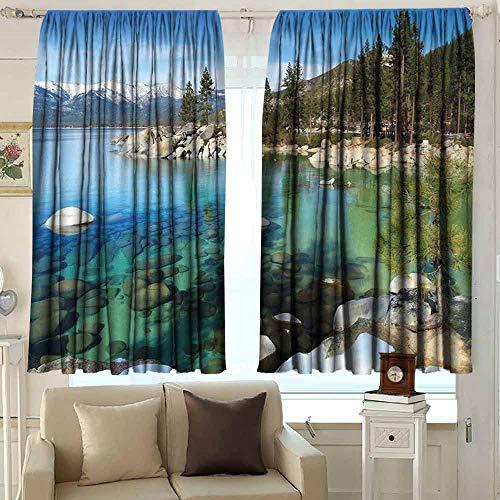 (XXANS Waterproof Window Curtain,Lake Tahoe,Waterproof Patio Door Panel,W63x72L Inches Multicolor)