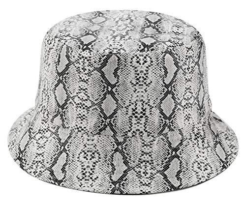 - Joylife Snakeskin Print Bucket Hat Trendy PU Fisherman Hats Unisex Reversible Packable Cap