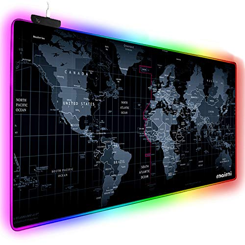 (rnairni Extended RGB Mouse Pad Mat, Large Office Table Desk Gaming Lighting World Map Mousepad for PC Computer MacBook iMac Keyboard Phone Waterproof Anti-Slip Ultra Thin 4mm - 31.5'' x)