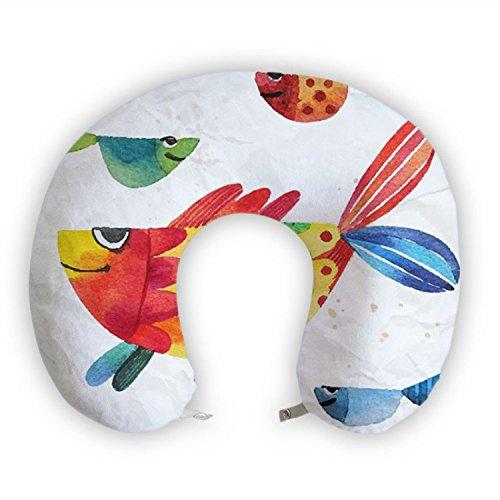 JessPad U-Shape Travel Pillow Watercollor Smiling Fish Memory Foam Neck - Fish Neck