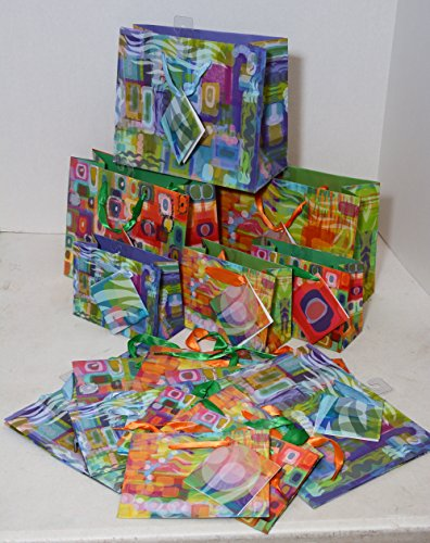 16 gift bags Small and extra small vogue sizes, modern art designs tags included by Kraft King