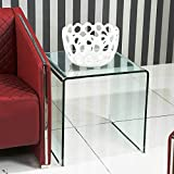 Bent Glass Coffee Table SMARTYK Transparent Glass Dining Table, Clear Bent Modern Home Office Furniture, Tempered Glass Coffee Table, Rectangle Kitchen Table with Rounded Edges Desks (24.8x19.6x18.90 inch)