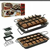 BakerBaba High Quality Non Stick Brownie Pan Set for Baking, Slicing & Serving