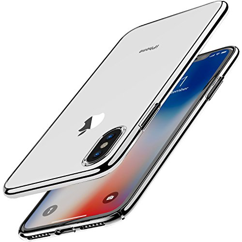 TOZO for iPhone X Case, Ultra Thin Hard Cover World's Thinnest Protect Bumper Slim Fit Shell for iPhone 10 / X [ transparent ] Lightweight [Silver Plating Edge] (Slim Case Hard)