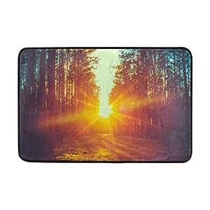 U LIFE Forest Sunset Non Slip Doormat Shoe Scraper Rug for Home Indoor Entrance Way Front Door 40 x 60 cm