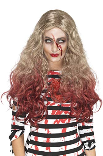 Smiffys Women's Deluxe Zombie Blood Drip Wig, Blonde/Red, One -