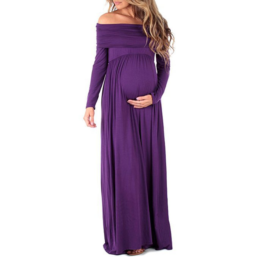 Women Pregnants Maternity Dresses Cowl Neck Pregnants Elegant Off Shoulders Maternity Nursing Dress Long Sleeve Maxi Evening Dress for Photography