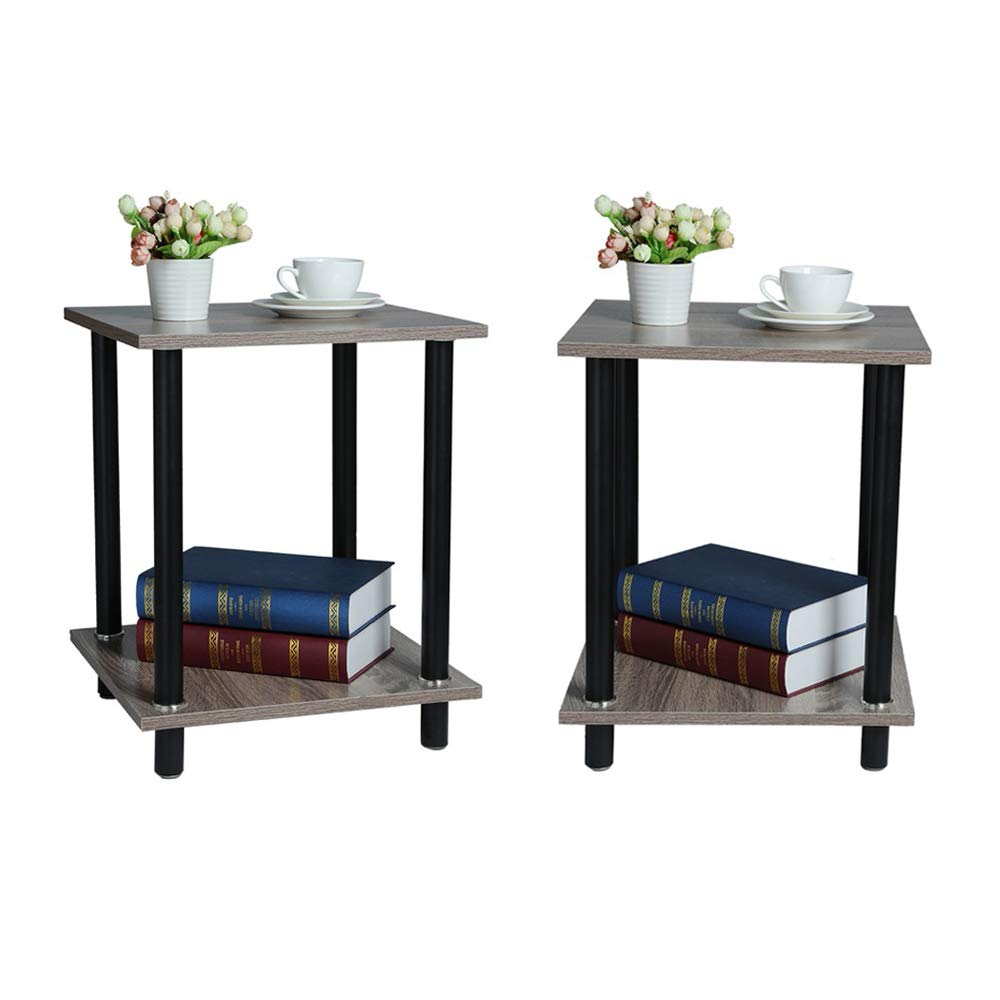 Homefami Side Bedside Cabinet Bedroom Storage Cabinet Storage Cabinet End Table Set of 2 Wood Color Metal Plate 15.7 x 15.7 x 19.7 inches
