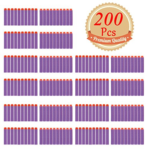 EC2BUY 200pcs 7.2cm Refill Bullet Darts for Nerf N-strike Elite Series Blasters Kid Toy Gun - Purple(round head and suction head)