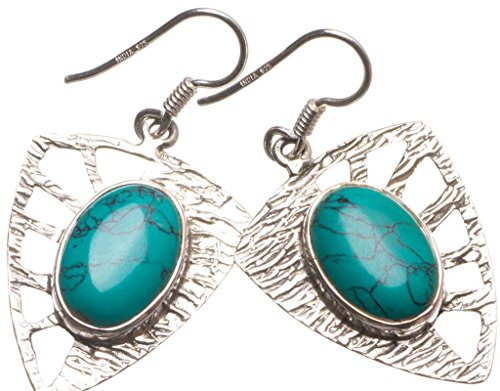 Natural Turquoise Handmade Vintage 925 Sterling Silver Earrings 1 1/2