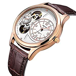 Mens Analog Wristwatches Leather Strap -gold and white dial