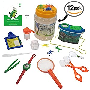 Kids Bug Explorer Toy Set With Catch Critter Net, Tongs, Tweezers, Magnifier & More – Educations, Imaginative & Creative Toys For Boys & Girls, Camping, Scouting, Nature & Backyard Fun + Free Ebook.