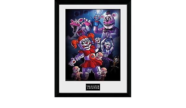 GB eye Five Nights At Freddys Wood Sister location Group Framed Print Multi-Colour 52 x 44 x 3 cm