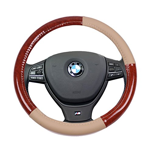 wn Wood Grain Universal 15 Inch Steering Wheel Cover PVC Leather Protection Breathable Auto Steering Wheel Cover ()