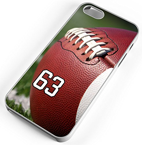 Football Close up White Rubber Cell Phone Case Fits iPhone 8 Player Jersey Number 63