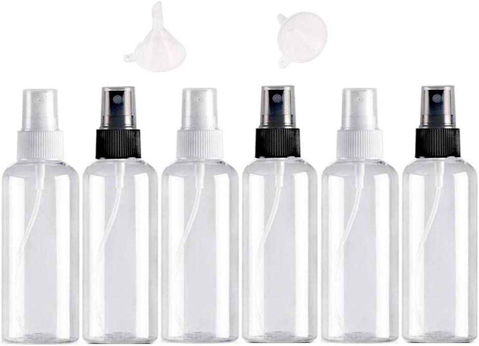 6 PCS *50ml Bote Spray Botella de Aerosol Vacío Plástico Transparente Niebla Fina Atomizador de Viaje Conjunto de Botellas