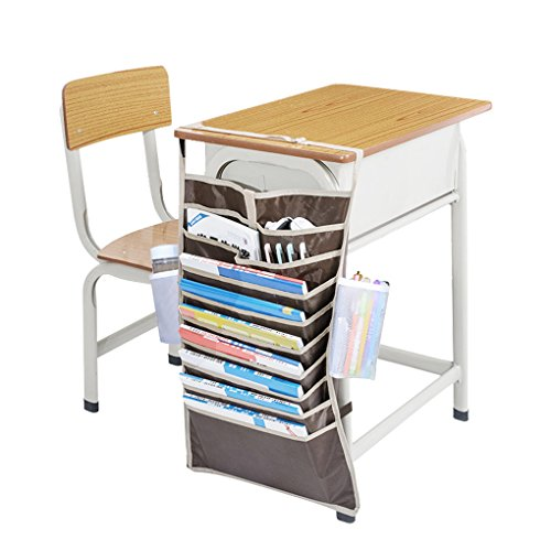 Heavy-Duty Oxford Large14 Pockets Desk Mount Hanging Caddy Organizer Students Classroom Book File Pens Holder Water Bottle Cellphone Pouch Stationery Storage Bag Office Furniture Bookcase Shelf Rack by Fakeface