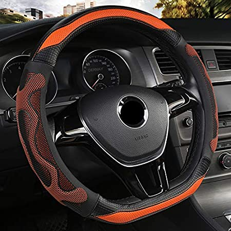 BuilLLin D Cut Steering Wheel Cover D Shaped Flat Bottom Microfiber Leather Anti-Skid Breathable Fit 14.5-15 Blue