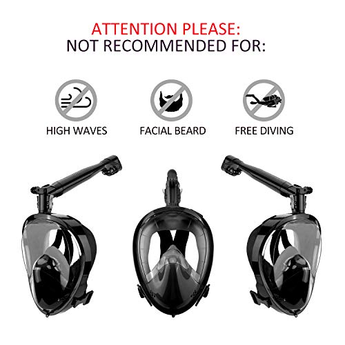Somune Full Face Snorkel Mask, Diving Snorkels Mask with Detachable Camera Mount Easy Breathing 180°Panoramic View Anti-Fog, Anti-Leak Snorkeling and Swimming Mask (Black, S/M)