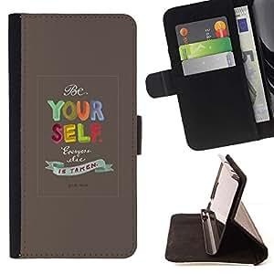 For Apple (5.5 inches!!!) iPhone 6+ Plus / 6S+ Plus Case , Usted mismo Citar Texto motivación- la tarjeta de Crédito Slots PU Funda de cuero Monedero caso cubierta de piel