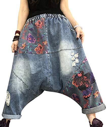 (YESNO Women Casual Loose Hippy Baggy Harem Pants Floral Cropped Jeans Stitched Drop Crotch Ripped Distressed Pockets PLD)