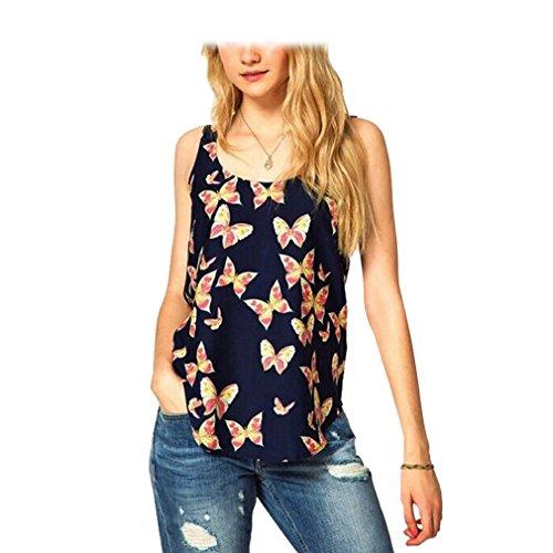 KINGDESON Retro Women Butterfly Print Sleeveless Chiffon Tank Top Shirts - Warehouse Sale Houston