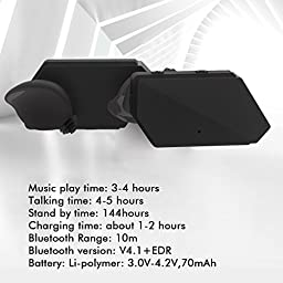 iVoler TB-01 Bluetooth Earbuds V4.1 True Wireless Earphones Headset in-Ear with Microphone Hands-Free Noise Cancelling Twins Stereo Sport Headphones for iPhone 7 Apple iPad Samsung Android And More