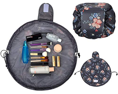 Drawstring Lazy Makeup Bag Waterproof Toiletry Bag Fashion Travel Organizer Large Cosmetic Pouch(Dark Grey Flower) (Dark Gray)