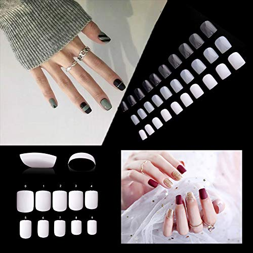 (Short Square Fake Nails Tips 600Pcs Full Cover Acrylic False Nails Artificial Nails For Nail Salons & DIY Nail Art - 10 Sizes)