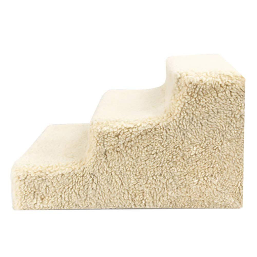 Beige Pet stairs For Dog Pet Gear 3 Steps Pet Ladder Cat Beds Furniture (color   Beige)