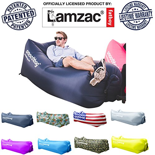 Inflatable Lounger and Indoor Outdoor Sofa: Lazybag Air Lounge Chair with Built-In Headrest | Banana Sleeping Bag, Hammock, Pool Float, Portable Camp Seat, Lazy Hangout Couch Bed (Nylon All Purpose Saddle)