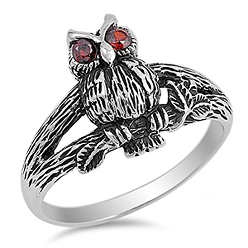Oxidized Owl Simulated Garnet Eyes Branch Ring New .925 Sterling Silver Band Size 10