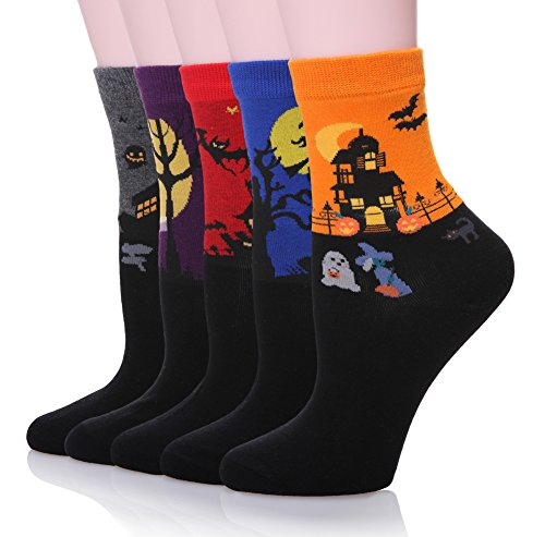 Dosoni Women's Cartoon Animal Cute Casual Halloween Socks - 5 Pack (Halloween Style) (Woman Halloween)