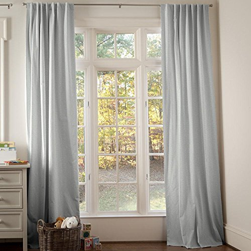 Carousel Designs Silver Gray Linen Drape Panel 96-Inch Length Standard Lining 42-Inch Width by Carousel Designs