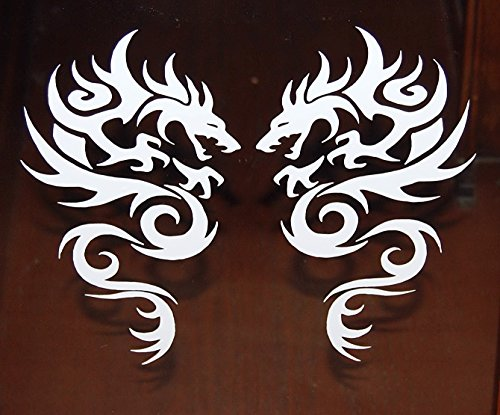 [Tribal Dragon Vinyl Decal Car Truck Auto Sticker White New Set of 2] (Dragon Tribal Car)