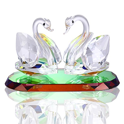 H&D Crystal Swan Figurine Collection Cut Glass Ornament Statue Animal Collectible (Clear-swan)