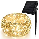 Solar String Lights (72 ft, Waterproof, 8 Modes), Ankway Bendable Copper Wire High Efficiency 200...