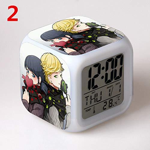 - jiangying store Miraculous Ladybug Ladybug Girl Alarm Clock Ladybug Reddy Black Hair Kid Colorful Color Alarm Clock